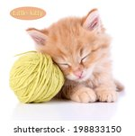 Stock photo cute little red kitten and ball of thread isolated on white 198833150