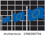 eu flags waving in front of the ... | Shutterstock .eps vector #1988380706
