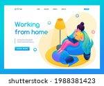 isometric 3d. girl works in a... | Shutterstock .eps vector #1988381423