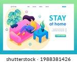 isometric 3d. girl stays at... | Shutterstock .eps vector #1988381426