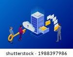 isometric cloud computing... | Shutterstock .eps vector #1988397986