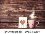 frame with heart shape and cup... | Shutterstock . vector #198841394