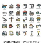 set of construction tool 1 thin ... | Shutterstock .eps vector #1988416919