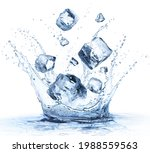 Ice Cubes Fall In Cold Water...