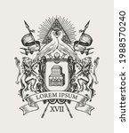 vector hand drawn coat of arms... | Shutterstock .eps vector #1988570240