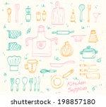 kitchen supplies sketch set | Shutterstock .eps vector #198857180