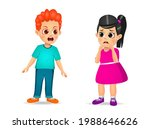 cute boy child angry and shout... | Shutterstock .eps vector #1988646626