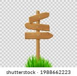 Wooden Direction Signs On Post...