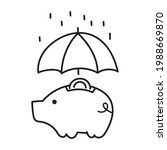 piggy bank with coin under... | Shutterstock .eps vector #1988669870
