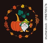pumpkin and gnome with a cup... | Shutterstock .eps vector #1988700176