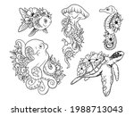 set of sea animals with flowers.... | Shutterstock .eps vector #1988713043
