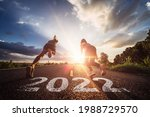 Small photo of Starting to new year,The readiness of leaders, vision and new ideas are beginning in 2022.Concept of Stepping into the new world and Adopt for Success in 2022 for new life.