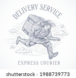 courier drawn in a symbolic ... | Shutterstock .eps vector #1988739773
