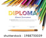 colorful child diploma... | Shutterstock .eps vector #1988750039