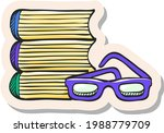 hand drawn books and glasses...   Shutterstock .eps vector #1988779709