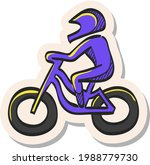 hand drawn cycling icon in...
