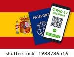 covid 19 passport on spain flag ... | Shutterstock .eps vector #1988786516