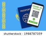 covid 19 passport on kazakhstan ... | Shutterstock .eps vector #1988787359