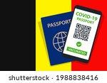 covid 19 passport on belgium... | Shutterstock .eps vector #1988838416