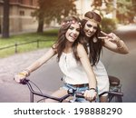 portrait of funny boho girls on ... | Shutterstock . vector #198888290