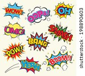 set of comic text  pop art... | Shutterstock .eps vector #198890603