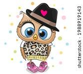 cute cartoon owl in a black hat ... | Shutterstock .eps vector #1988919143