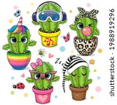 set of cute cartoon cactus with ...   Shutterstock .eps vector #1988919296