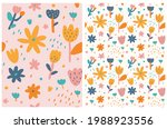cute hand drawn floral seamless ...   Shutterstock .eps vector #1988923556