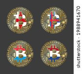 four golden bitcoin icons with... | Shutterstock .eps vector #1988941670