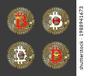 four golden bitcoin icons with... | Shutterstock .eps vector #1988941673