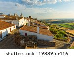 Typical Alentejo houses in the Castle of Monsaraz, a medieval village on a hill top with a view over the Guadiana river and the frontier with Spain. Monsaraz, Reguengos de Monsaraz, Évora, Portugal