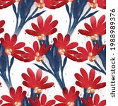 watercolor red florals pattern...   Shutterstock . vector #1988989376