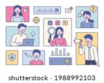 business experts in each square ... | Shutterstock .eps vector #1988992103