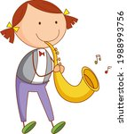 a doodle kid playing saxophone... | Shutterstock .eps vector #1988993756