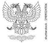 flat outline eagle logo....   Shutterstock .eps vector #1989024506