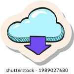 cloud storage hand drawn color... | Shutterstock .eps vector #1989027680