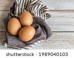Brown Chicken Eggs Lay On The...