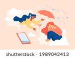 flat illustration of comforting ... | Shutterstock .eps vector #1989042413