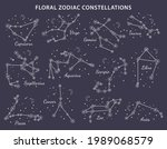 set of 12 floral zodiac signs... | Shutterstock .eps vector #1989068579