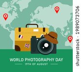world photography day. happy...   Shutterstock .eps vector #1989073706