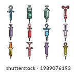 syringe icons set vector...   Shutterstock .eps vector #1989076193
