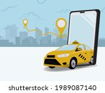 taxi out from phone. booking... | Shutterstock .eps vector #1989087140