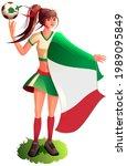 woman fan soccer player in...   Shutterstock .eps vector #1989095849