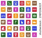 Triathlon Icons. White Flat...