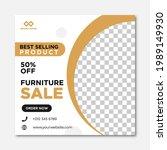 modern furniture sale banner... | Shutterstock .eps vector #1989149930