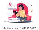 girl finding house remotely on... | Shutterstock .eps vector #1989156419