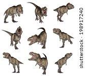 set of nine tyrannosaurus rex... | Shutterstock . vector #198917240