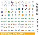 100 universal icons set.... | Shutterstock .eps vector #1989181736