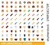 100 universal icons set.... | Shutterstock .eps vector #1989181739
