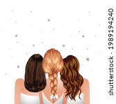 three woman standing together.... | Shutterstock .eps vector #1989194240